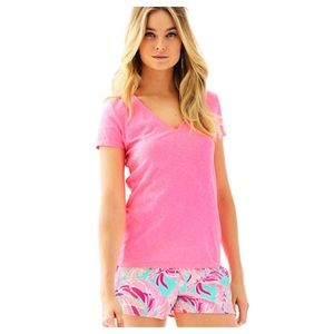 LILLY PULITZER Michele V Neck Top Solid Pink Sz XL